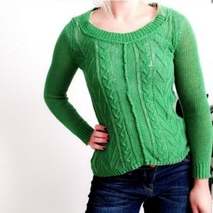 Sparrow Anthropologie Green Cable Knit Sweater 322